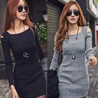 2015 Spring Autumn New Women Fashion Slim Thin Hip Full Sleeve Slash Neck Off the Shoulder Solid Mini Casual Dress YJ739