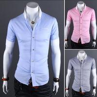 Free Shipping 2014 mens Short Shirt Mens Cotton Fashion Short Sleeve Shirt,4 Colors,Mandarin Collar,Thick Solid HOT Sales !