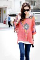 561 Exotic 3xl 4xl 5xl 6xl plus size tops women chiffon blouses new 2014 casual summer floral print blouses shirts Free shipping
