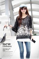 381 Exotic 3xl 4xl 5xl 6xl plus size tops women chiffon blouses new 2014 casual summer floral print blouses shirts Free shipping