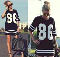 New Fashion Women Celeb Plus Size 86 American Baseball Tee T-shirt Top Loose Fit Short Sleeve Loose Shirt  Black/White M -XL