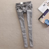new women's vintage slim pencil pante, women's full length snow dyeing processing low waist pants