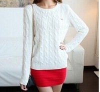 Free Shipping 2014 HOT SALE Women's Spring Autumn Long Sleeve O-neck European Fashion Knitted Pullovers Sweater White Color