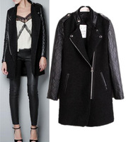 Fashion winter women wool jacket PU leather sleeve patchwork medium-long oblique zipper coat brand ladies thick outerwear S M L