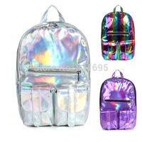 Hot! Promotion Silver Hologram Laser backpack,Girls School Bag,Women  Silver Business Zipper  Daily Travel Outdoor Backpack