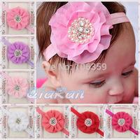 Beaded Chiffon Flower Headbands Baby Girls Headband Newborn Toddler Hair Bows Hair Accessories Photo Props 10pcs HB068