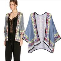 2014 Hot Sale New Arrival Dobby Casacos Femininos Women Coat Women Jacket Loose Cotton Printed Kimono Coat Retail Summer Dress