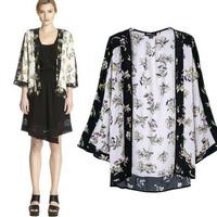 2014 New Fashion Ladies' elegant Floral print loose kimono vintage no-button three quarter sleeve cape coat outwear casual tops