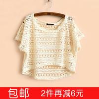 2014 spring and summer women's net shirt short-sleeve T-shirt crochet pullover loose plus size lace short cutout design shirt