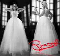RBC 644 Modern Ball Gown Floor Length Wedding Dresses 2014 New Lace Beading Bridal Gown Customize White Dress