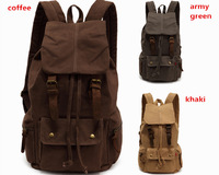 Cotton Canvas Backpack outdoor mountain travel hiking camping gym bag w genuine leather Men Women School Rucksack Free shipping