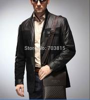 New arrive men's cowskin single-shoulder bag , black / brown business men  messenger bag