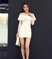 Summer 2014 Brand New Fashion Quality Chiffon Bodycon Dresses Novelty Lace Sleeves Sexy Package Hip Club White Dress For Women