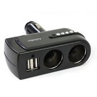 New 2 USB Charger Supply+2 Socket Car Cigarette Lighter Extender Splitter