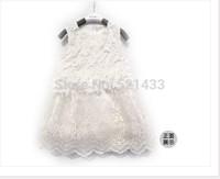 2014 new spring Girls in white lace crochet gauze princess girls sun dress