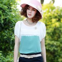 free shipping 2014 summer plus size clothing lace top slim patchwork T-shirt short-sleeve o-neck chiffon shirt
