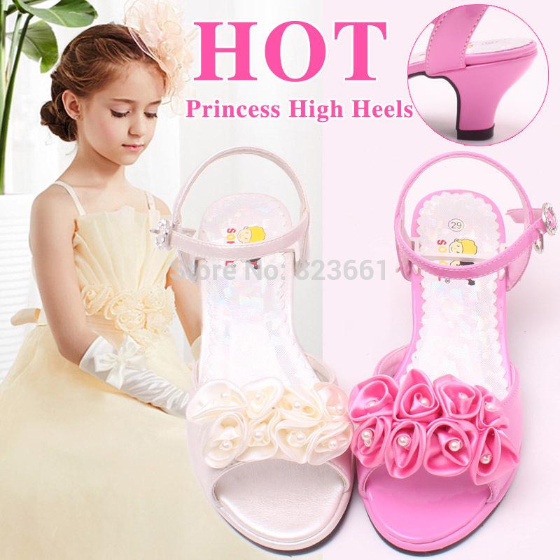Hottest Flowers Pink&Ivory Wedding Shoes Girls Princess Sandals Kids Children Summer Sandals Heeled Size 29-36(China (Mainland))