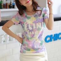 free shipping 2014 women's plus size cutout lace shirt popular fancy T-shirt short-sleeve top