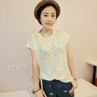 free shipping Chiffon shirt short-sleeve summer female 2014 women's short-sleeve T-shirt female casual all-match lace shirt