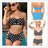 New 2014 Brand Bathing Suit High Waist Bikini Sexy Hollow Swimwear Women Dot Zipper Swimsuit Slim Vintage Push Up Bikinis Set