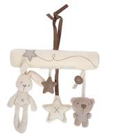 3pcs/set Mamas&Papas Cot Hanging Toy Pram Infant Baby Rattle Toy Soft Plush Rabbit and Bear Plush Doll Musical Mobile 24*21cm