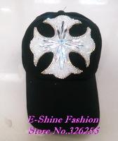 Brand Good Quality new design luxury rhinestone diamond big Cross women baseball cap fashion black fuchsia brand snapback hats