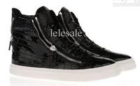 New 2014 men women black patent sneak eskin leather zipped high-cut shoe casual shoes for men, fashion shoes for men designer