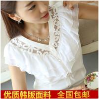 free shipping T-shirt female summer short-sleeve 2014 plus size clothing chiffon shirt V-neck lace slim chiffon shirt