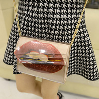 2014 women's handbag chain  fashion Lips sexy  messenger  small bag  Clutch   free shipping