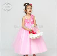 Junior brides2014 High Quality Bridal Flower Girl Dress party evening Children's pink dress princess