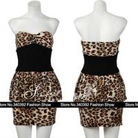 2014 new Sau San nightclub queen sexy Leopard Print dresses stitching Tube Top