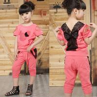 2014 new Retail NEW design children's clothing summer set child flower female vest polka dot harem pants twinset kids suit baby
