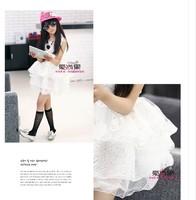 Big girls summer 2014 star models vest printed organza skirt elastic piece Dress