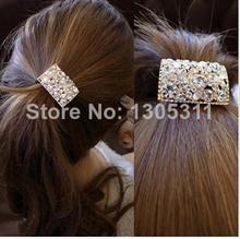 One Pcs Hot Sale Hair Rope Shine Rhinestone Square Shape Girls Woman Hair Bands Ponytail