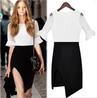 Perspective dress Flare sleeve Chiffon Dress Stitching slim dress free shipping