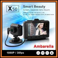"Ambarella Separate Lens Car DVR X50 With 2.7"" LCD Full HD 1080P 170 degree Wide Angle G-sensor H.264 Car Vehicle Recorder"