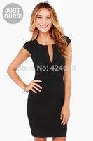 2014New Arrival summer   women's sexy &fashion deep V -neck metal zipper Slim dress skirt