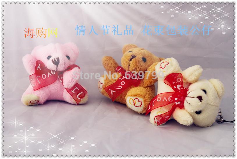 Groß-und Einzelhandel werbegeschenk plüschtiere schönen teddybär valentine geschenk mit liebe band 6cm handy charme 30pcs/lot