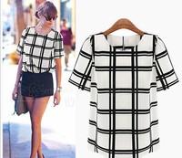 Fashion  Europe and America chequered chiffon shirt  Chiffon Blouse summer women shirt Free shipping