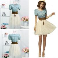 New 2014 Women Summer Dress Short Sleeve Dress Women Vintage Dress Ball Gown Jeans Dress Free Shipping