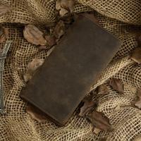 2014 Hot Sale Men's Crazy horse genuine leather long design wallets purse male leather purses vintage 8030