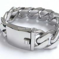Huge&Heavy 26mm Mens Boy's Silver Chain Fashion Links Polishing Curb Classics Bracelet 316L Stainless Steel Bangle Charm Biker
