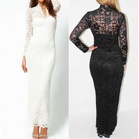 2014 NEW Sexy Women Long Sleeve V Neck Lace Club Evening Party Cocktail  Long Maxi Dress Plus size Bodycon White gown/H69