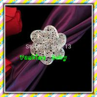 fashion flower shape rhinestone napkin rings for wedding decorations