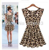 2014 New Arrival summer  women fashion  dress Leopard Print Microfiber Summer Dress Ruffles Dresses  M L XL Free Shipping