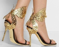 Discount New S R Cutout Stiletto Butterfly Sandals Gold Peep Toe Ultra-high Women's Spikes Pumps Plus Size 2014