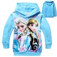 New 2014 frozen Children Hoodies,Girls Clothing Sweatshirts,100% Cotton coats for girls,Cartoon Elsa Anna Princess baby kids