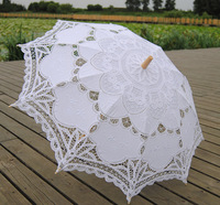 Beautiful Lace Parasol Umbrella For Bridal Wedding Decoration White