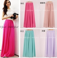 European style 2014 New Women's Casual Skirts Pure color chiffon fold elastic Slim Long skirt Size M,L,XL  5 Colors LT-10