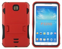 Rugged Impact Armor Dual Slim Hybrid Kickstand Phone Cover Protective Case For Samsung Galaxy Tab 3 7.0 P3200 Red,Free Shipping